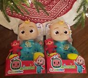 Lot Of 2 Cocomelon 10 Plush Musical Bedtime Singing Jj Doll And Teddy Bear Set