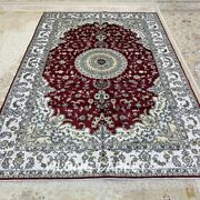 Yilong 6'x9' Handknotted Silk Rugs Home Decor Indoor Red Classic Carpet L148c