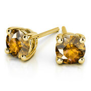 4.00 Carat Round Real Citrine Gemstone Stud Earrings 14k Solid Yellow Gold Studs