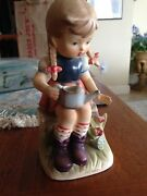 Erich Stauffer Sculpture Girl With Watering Can Approximately 7.75