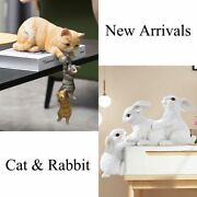 Resin 3 Cat Rabbit Statues Diy Outdoor Garden Tree Decorations Animal Sculptures