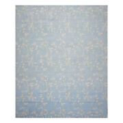 9'1'' X 11'11'' Hand Knotted Tibetan Wool Botanical Oriental Area Rug Baby Blue