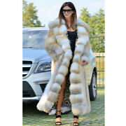 Luxurious Women Real Red Fox Fur Hooded Coat 120cm Winter Thick Fur Overcoat