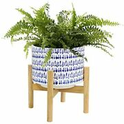 Ceramic Plant Pot With Wood Stand - 7.3 Inch Modern Round Decorative Flower Blue