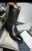 Lucchese Boots Size 11.5d Handmade Gy3003 Mens Black Ultra Belly Exotic