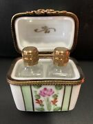 Limoges Rare Trinket Box With 2 Perfume Bottles Outstanding Look Rose 🌹