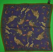 Drake's 70 Wool/ 30 Silk 'birds' Purple W/ Olive Pocket Square Made In Italy