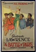 Battle Of Paris Movie Poster Verygood+ One Sheet Gertrude Lawrence Wwi 1930