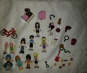 Lego Friends Minifigures Lot Of 8 Minifigs With 3 Animals And Many Accessories