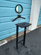 Vintage Wooden Round Mirror Shaving Stand Pedestal Grooming Station Cosmetic