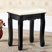 Vanity Wood Dressing Stool Padded Chair Makeup Piano Seat W/ Thick Cushion Black