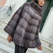 Women Real Mink Fur Stand Collar Cape Winter Warm Shawl One Size Coat Poncho