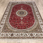 Yilong 6and039x9and039 Handmade Silk Carpet Oriental Indoor Floral Red Area Rug Y491c