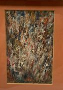 Vintage 1969 Edward Dubuque Splatter Fire Oil Painting - Listed Providence Wpa