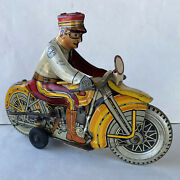 Vintage Marx Tin Litho Wind Up Rookie Police Cop Motorcycle W/ Siren