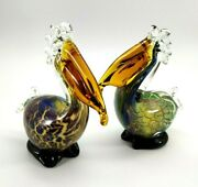 Vintage Art Glass Mouth Blown Pelican Bird Figurines