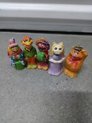 5 Hand Painted Muppet Vintage Figurines - Rare Dr. Teeth, Scooter, Animal, Fozzy