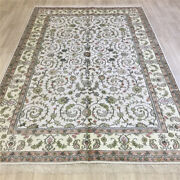 Yilong 6'x9' All-over Handknotted Silk Rug Indoor Home Decor White Carpet L079c