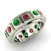 2.00 Carat Real Ruby Emerald Gemstone Band Solid 950 Platinum Rings Size 6 7 8 9