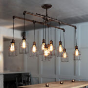 Vintage Pipe Chandelier Led Island Light Wire Cage Semi Flush Mount Ceiling Lamp