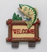 Fish Welcome Lodge Door Knocker Top Topper Midwest Of Cannon Falls. Rare Cf
