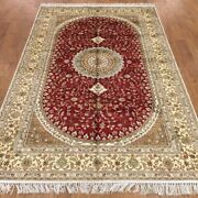 Yilong 5and039x8and039 Handmade Silk Red Area Rug Floor Decor Living Room Carpet Wy370c