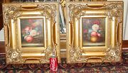 Pair Oil On Canvas Still Life Paintings-flowers-in Ornate Frames-----15569