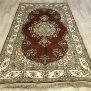 Yilong 5and039x8and039 Red Handknotted Silk Rugs Antistatic Home Decor Indoor Carpets 457b