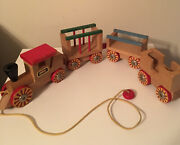Original Vintage Brio Wooden Toy Pull Train Made In Sweden 4 Wood Cars
