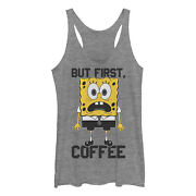 Spongebob Squarepants Womenand039s But First Coffee Racerback Tank Top