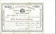 Park Cranberry Company New Jersey....1896 Common Stock Certificate