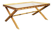 Glass Top Cross-leg And Faux Bamboo Coffee Table