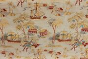 4+y Rare Stunning Kravet Oriental Chinoiserie Red Gold Toile Fine Jacquard Fabrc