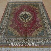 Yilong 4'x6' Handknotted Silk Area Rug Home Decor Pink Antistatic Carpet 0692