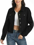 Andy And Natalie Womenand039s Denim Jackets Oversize Long Sleeve Basic Button Down Crop