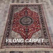 Yilong 4and039x6and039 Handknotted Silk Carpet Oriental Family Room Medallion Red Rug Y91d