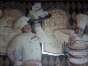 5 Rolls French Pastry Chef Bakery Cafe Bistro Fat Chef Kitchen Wallpaper Border