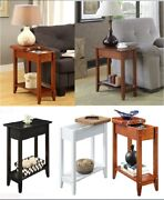 End Table Sofa Side Accent Lamp Stand Display Shelf Flip Top Storage Furniture