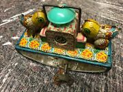 Vintage Old Rare Collectible Wind Up Cock At See - Saw Litho Print Tin Toy India