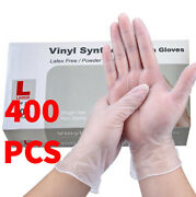 400 Pcs Vinyl Clear Durable Cleaning Hand Gloves Powder Latex Free Rubber Gloves