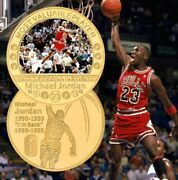 Michael Jordan - Basketball Unc 40mm Gold Plated Colorized Coin