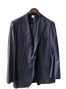 New With Tags 10580 Dark Blue Classic Kiton Napoli Suit Cashmere Wool Sz 58l