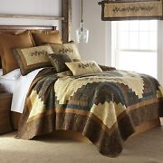 Twin Quilt - Cabin Raising Pine Cone By Donna Sharp - Lodge Quilt With Colorful