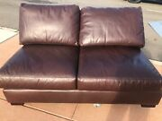 Pottery Barn Turner Square Arm Leather Sectional Armless Loveseat Signtr Whiskey