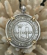 Pirate Coin Treasure Piece Of Eight Handstruck Authentic 4r Set Ss/14k Pendant