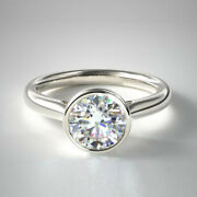 0.70 Ct Round Real Diamond Engagement Ring Solid 950 Platinum Bands Size 5 6 7 8