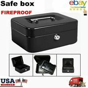 Mini Fireproof Steel Security Safes Home Store Money Cash Safety Box W/key Us