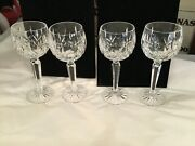 Set Of 4 Authentic Signed Waterford Lismore Wine Hocks Glasses Must See No Res