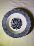 5 Currier And Ives Blue Royal China Soup Bowls And 6 Salad Plates Not Pictured