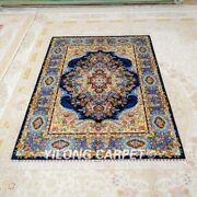 Yilong 4and039x6and039 Blue Handwoven Silk Area Rug Home Furnishings Oriental Carpet Z517a